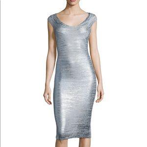 New, Herve Leger Foil Metallic  Bandage Dress. M